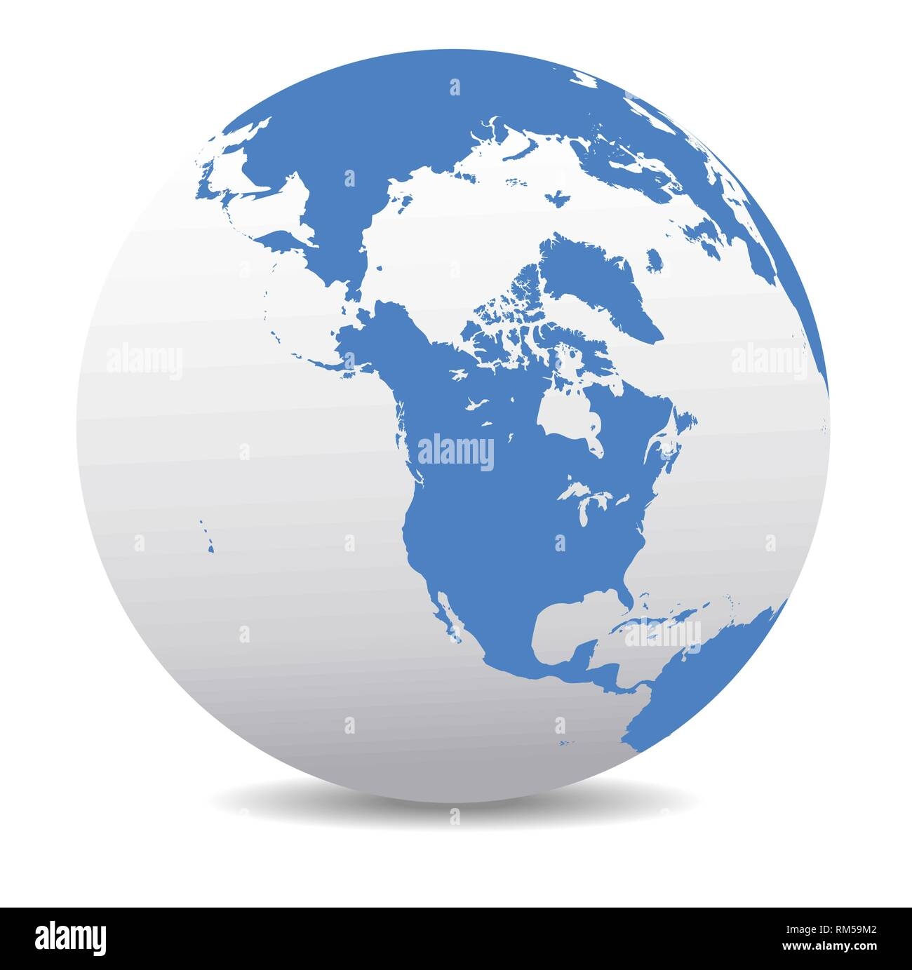 Canada, North America, Siberia and Japan Global World, Vector Map Icon of the World Globe - Stock Vector