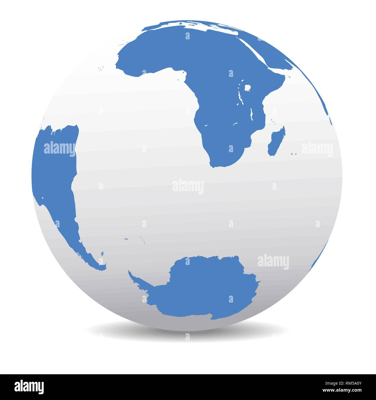 South Africa, Madagascar, South America and Antarctica, South Pole, Vector Map Icon of the World Globe Stock Vector