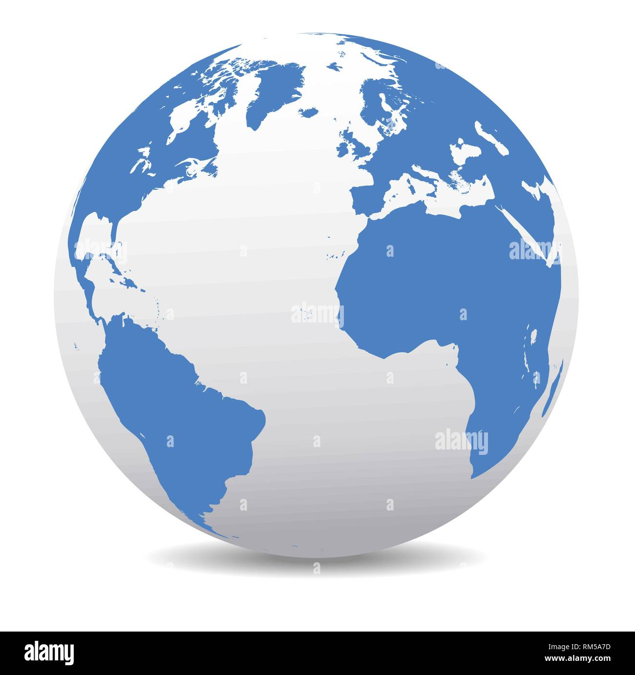 Europe, North and South America, Africa Global World, Vector Map Icon of the world in Globe - Stock Vector