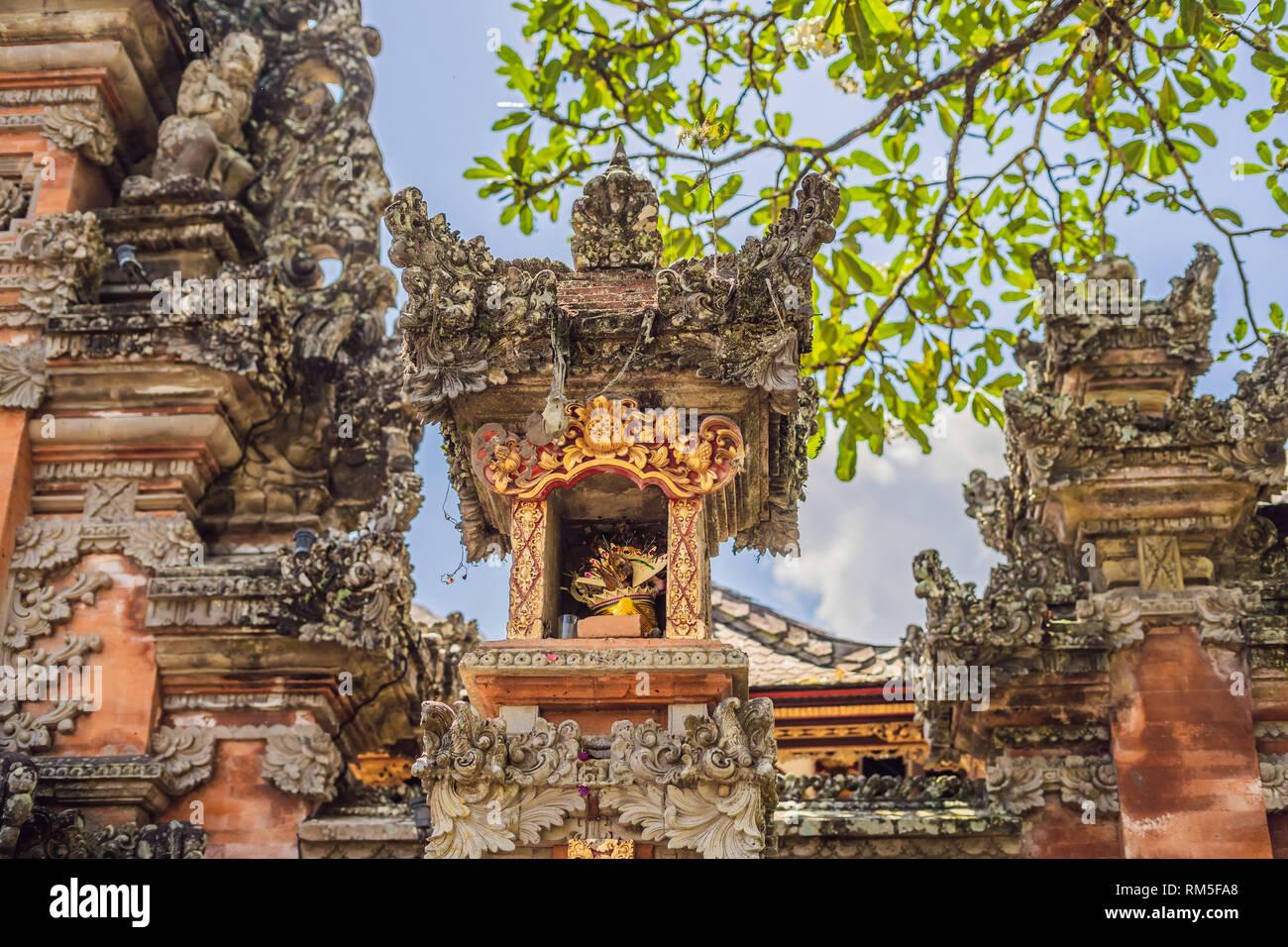 Pura Taman Kemuda Saraswati Temple in Ubud, Bali island, Indonesia - Stock Image