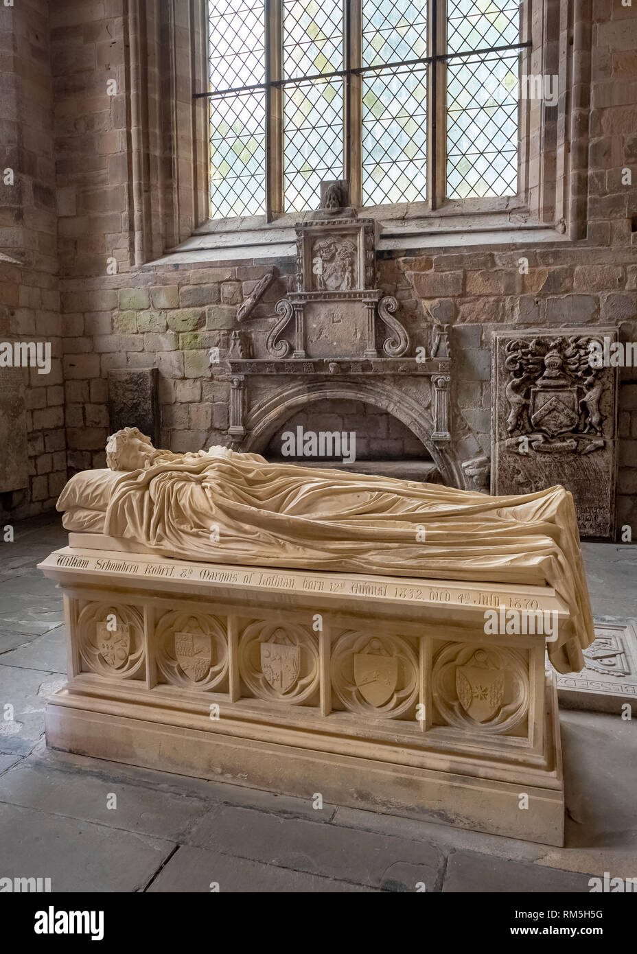The tomb of the 8th Marquess of Lothian, Robert Kerr, who died in 1870, Jedburgh Abbey, Jedburgh, Scottish Borders - Stock Image