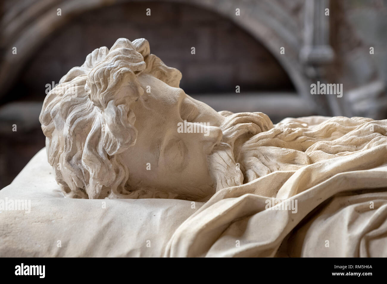 Close up of the tomb of the 8th Marquess of Lothian, Robert Kerr, who died in 1870, Jedburgh Abbey, Jedburgh, Scottish Borders - Stock Image