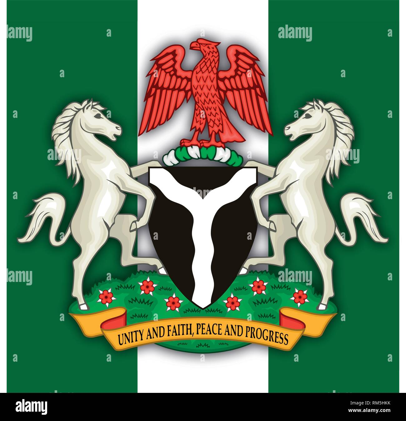Nigeria Federal Republic coat of arms and flag, vector illustration - Stock Vector