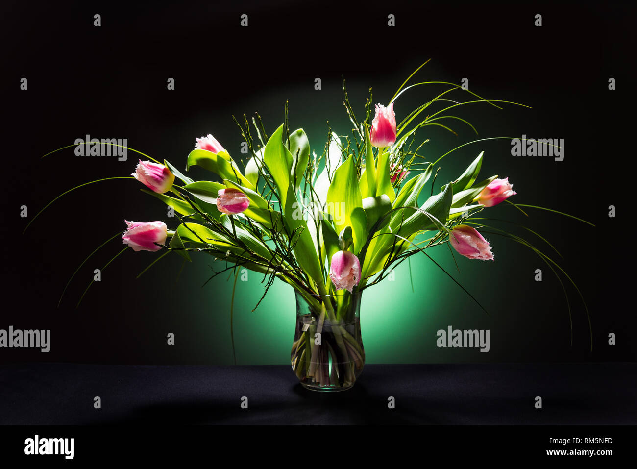 Red Tulip flowers in vase on black background Stock Photo