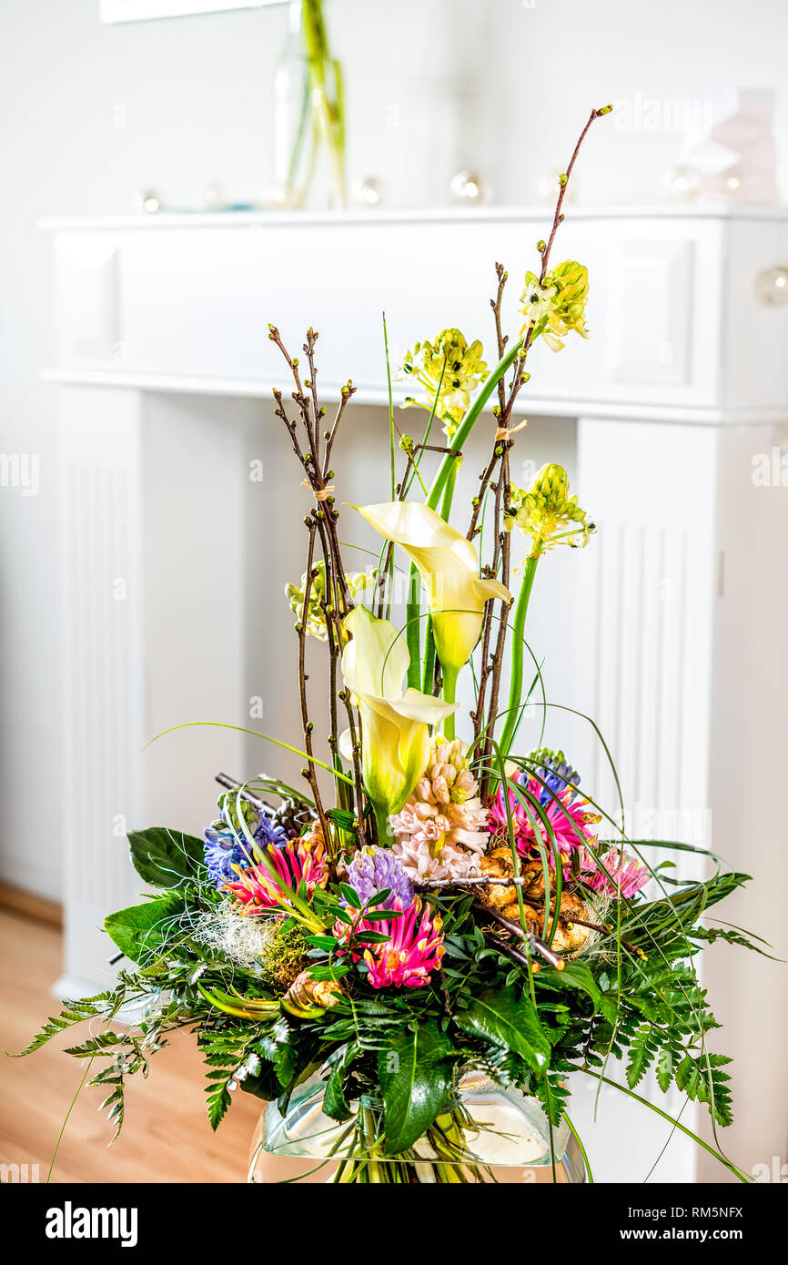 flower bouquet in living room Stock Photo