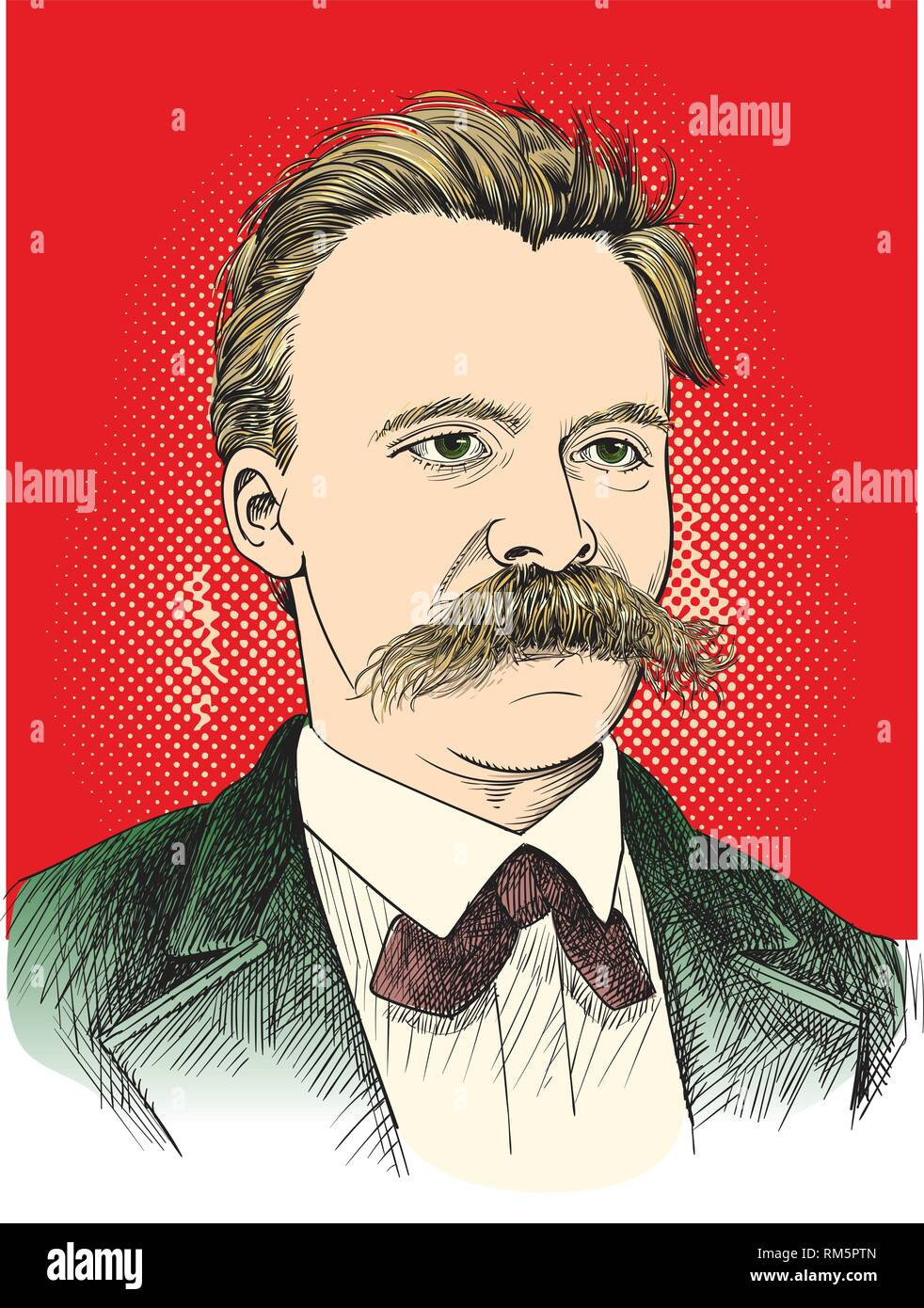 Friedrich Nietzsche portrait in line art illustration. He was German philosopher, philologist, poet, composer and classical scholar. Editable layers. - Stock Vector