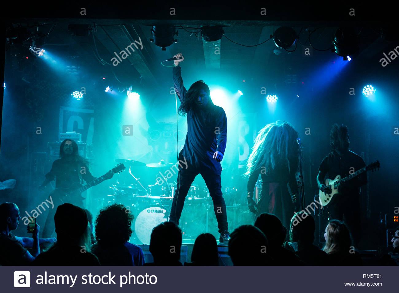 Metal band on stage - underside Rebellion MCR - Stock Image