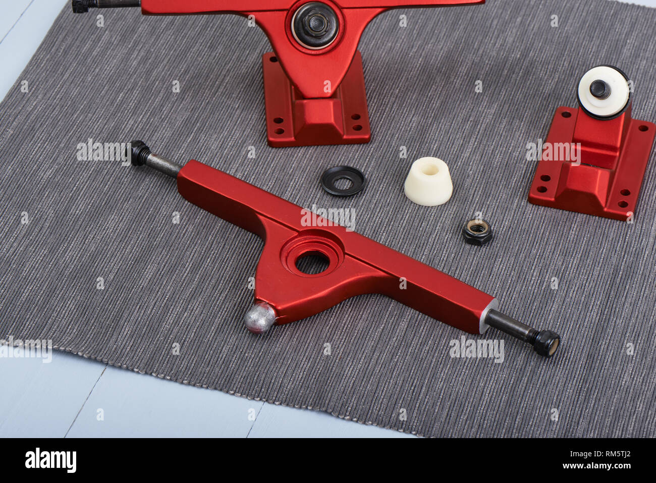 Longboard truck to support the long board and adjust the driving direction. - Stock Image