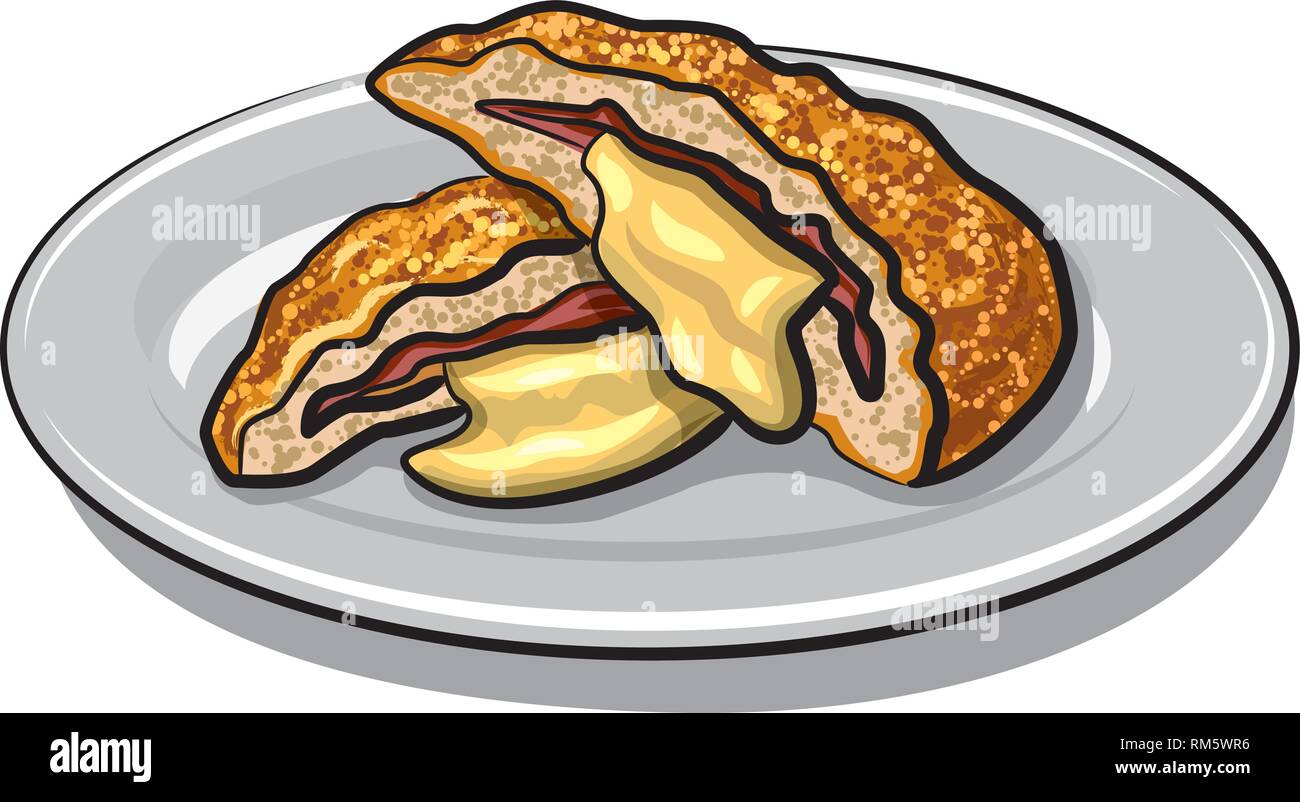 illustration of escalope with melted cheese on a plate - Stock Vector