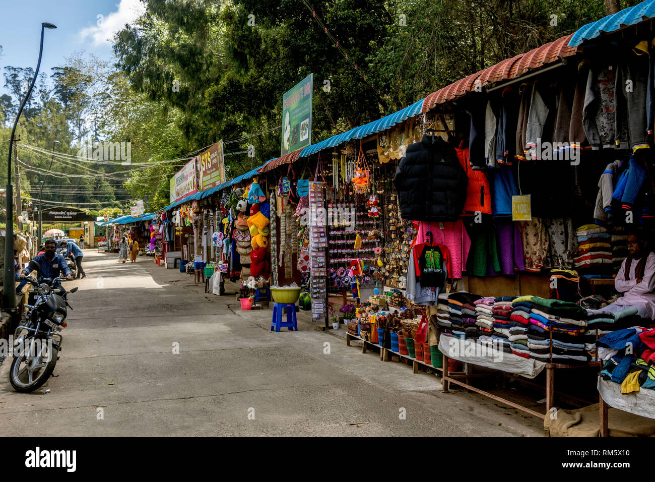 Shops selling garments, Kodaikanal, Tamil Nadu, India, Asia - Stock Image