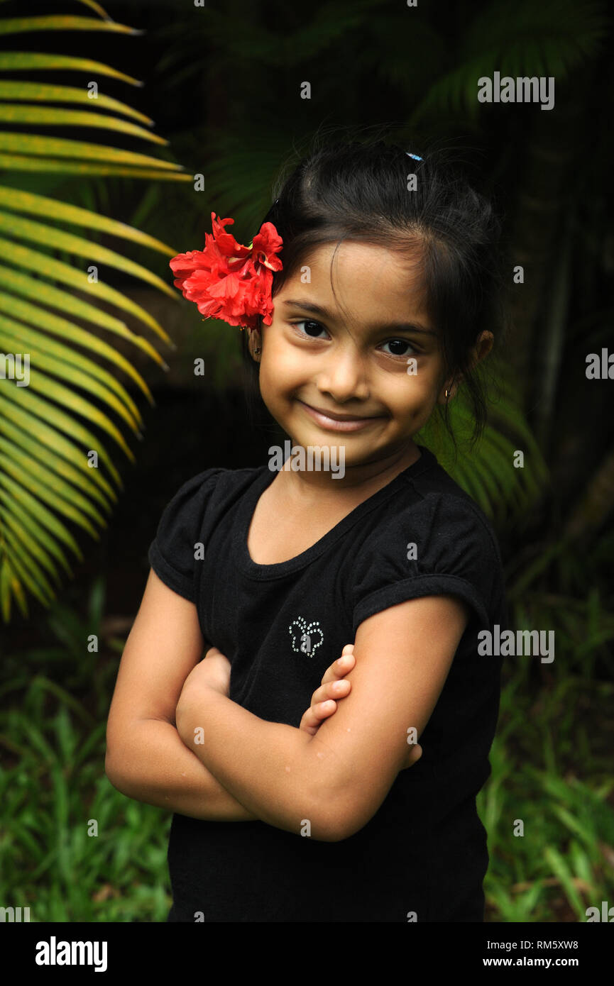 Little girl arms crossed, India, Asia, MR#736LA - Stock Image
