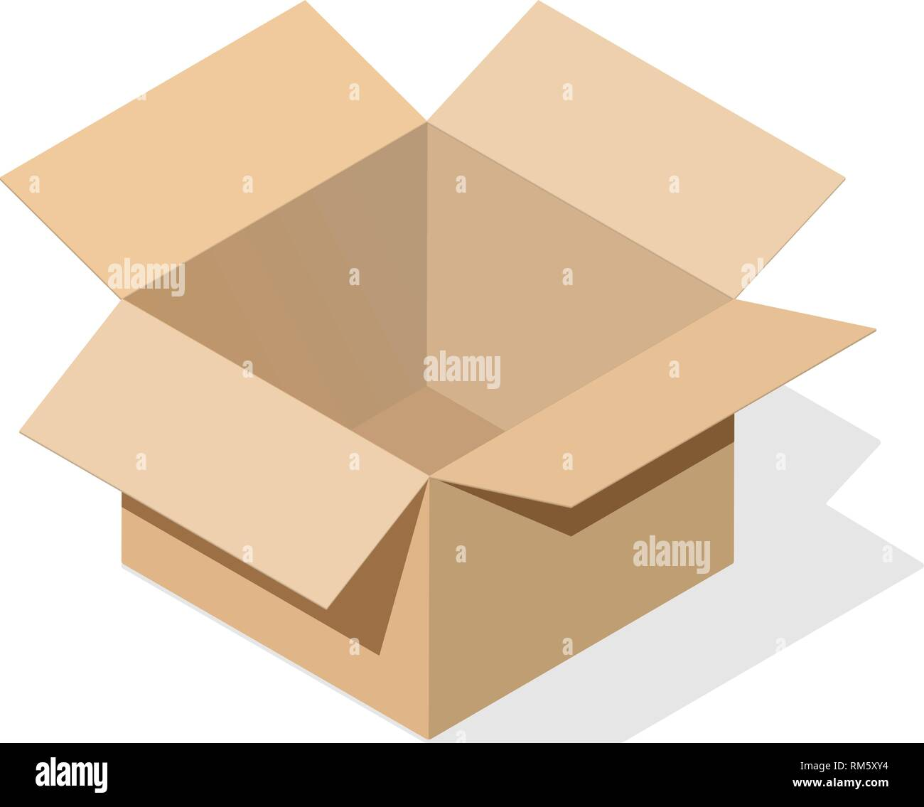 Miniature 3D box in an open version of light brown cardboard. Object on a white background with a flat shadow for icons, ads, banners, filling sites. - Stock Vector