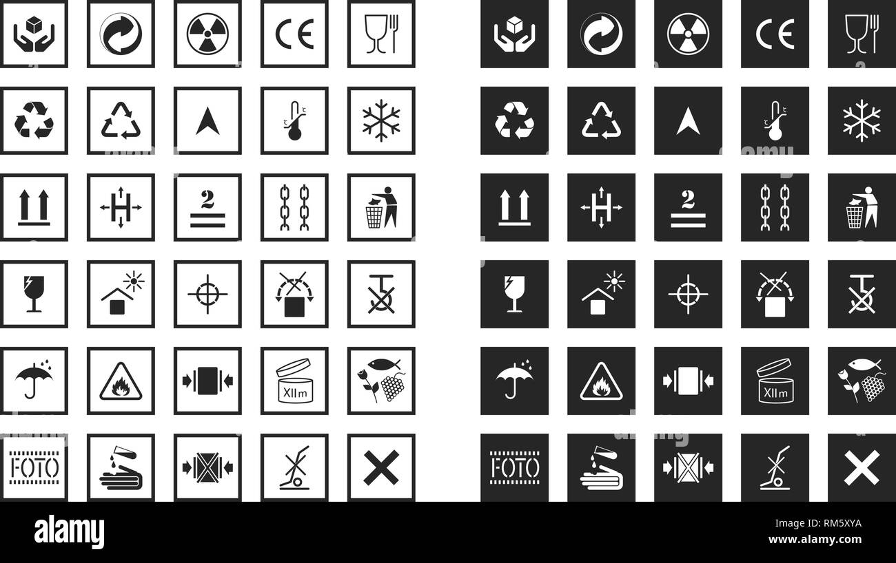Collections of basic informational signs for labeling on cardboard boxes. Logistics icons for products, labels, containers. Pictogram in flat style. - Stock Vector