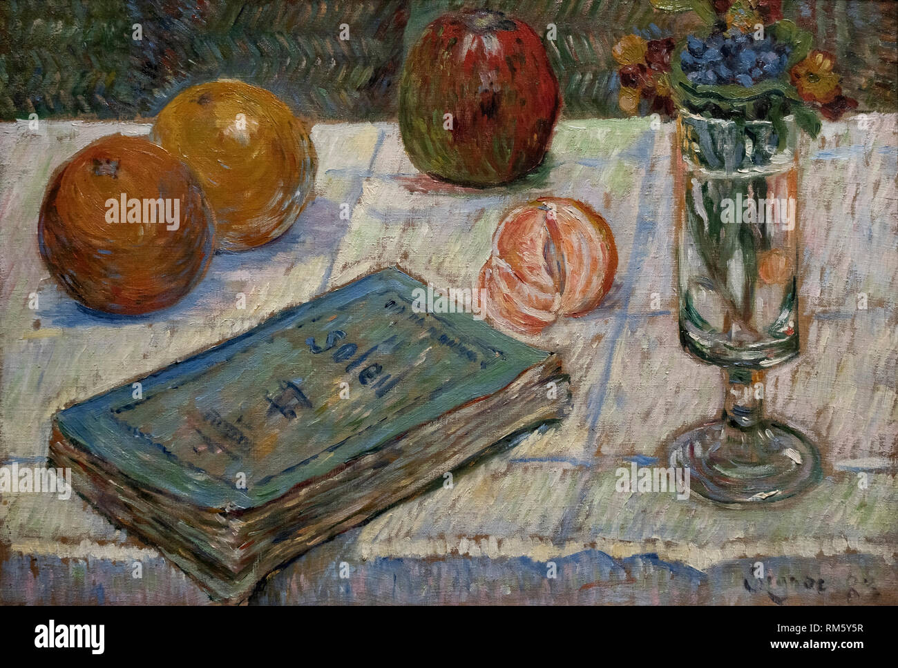 Paul Signac (1863-1935), Still Life with Book, 1883. Stilleben mit Buch. Alte Nationalgalerie, Berlin. Stock Photo