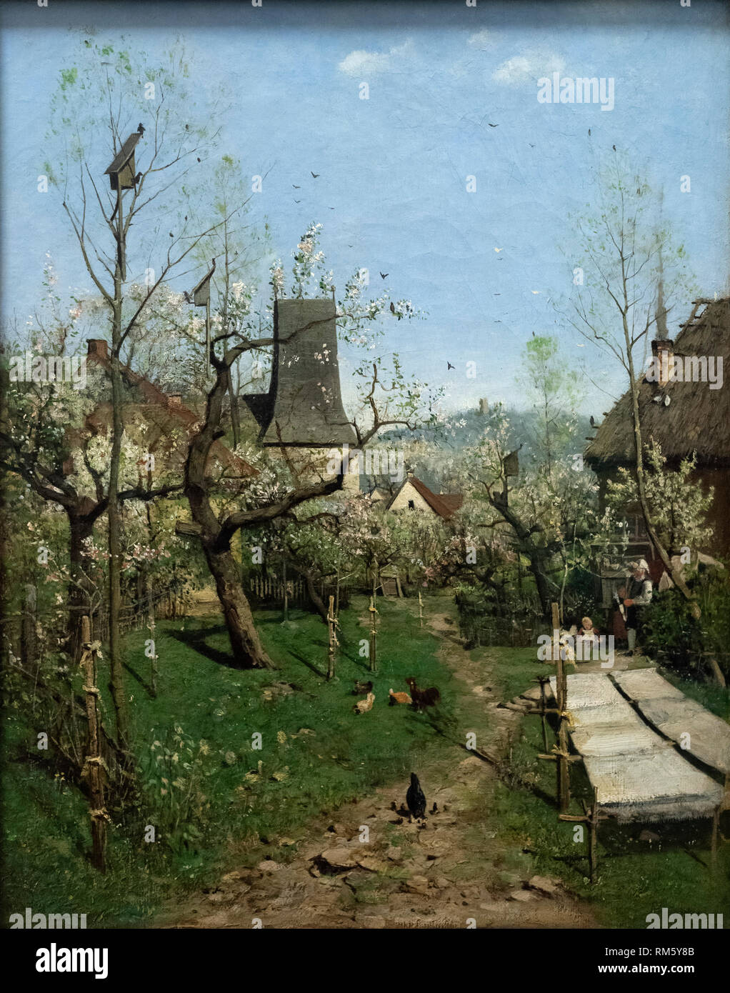 Karl Buchholz (1849-1898), Spring in the Village, ca. 1872. Frühling auf dem Dorf. Alte Nationalgalerie, Berlin, Germany. - Stock Image