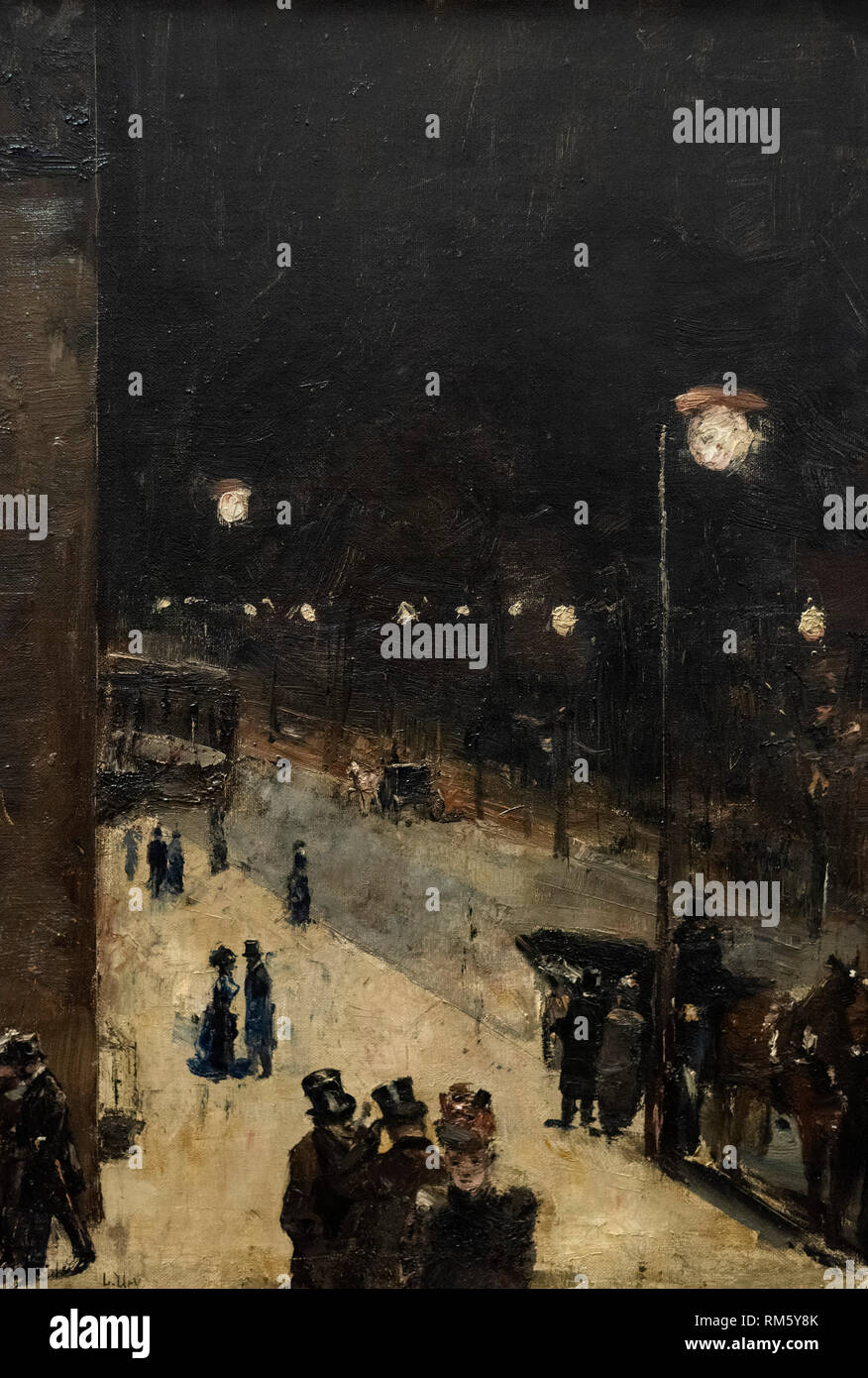 Lesser Ury (1861-1931), Berlin Street at Night, 1889. Berliner Straße bei Nacht. Alte Nationalgalerie, Berlin, Germany. - Stock Image