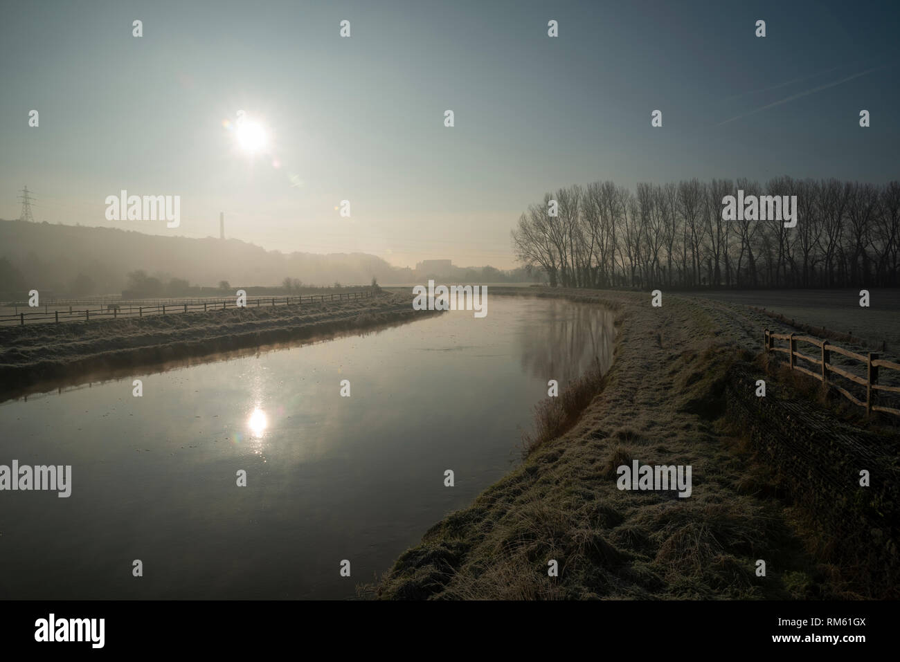 A cold, misty Winter morning on the River Adur near Bramber, West Sussex, UK Stock Photo