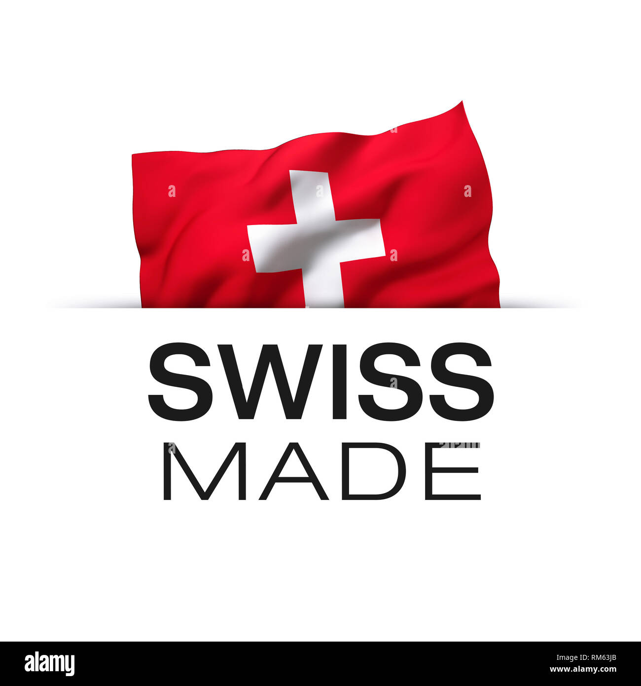 Swiss made - Guarantee label with a waving flag of Switzerland. - Stock Image