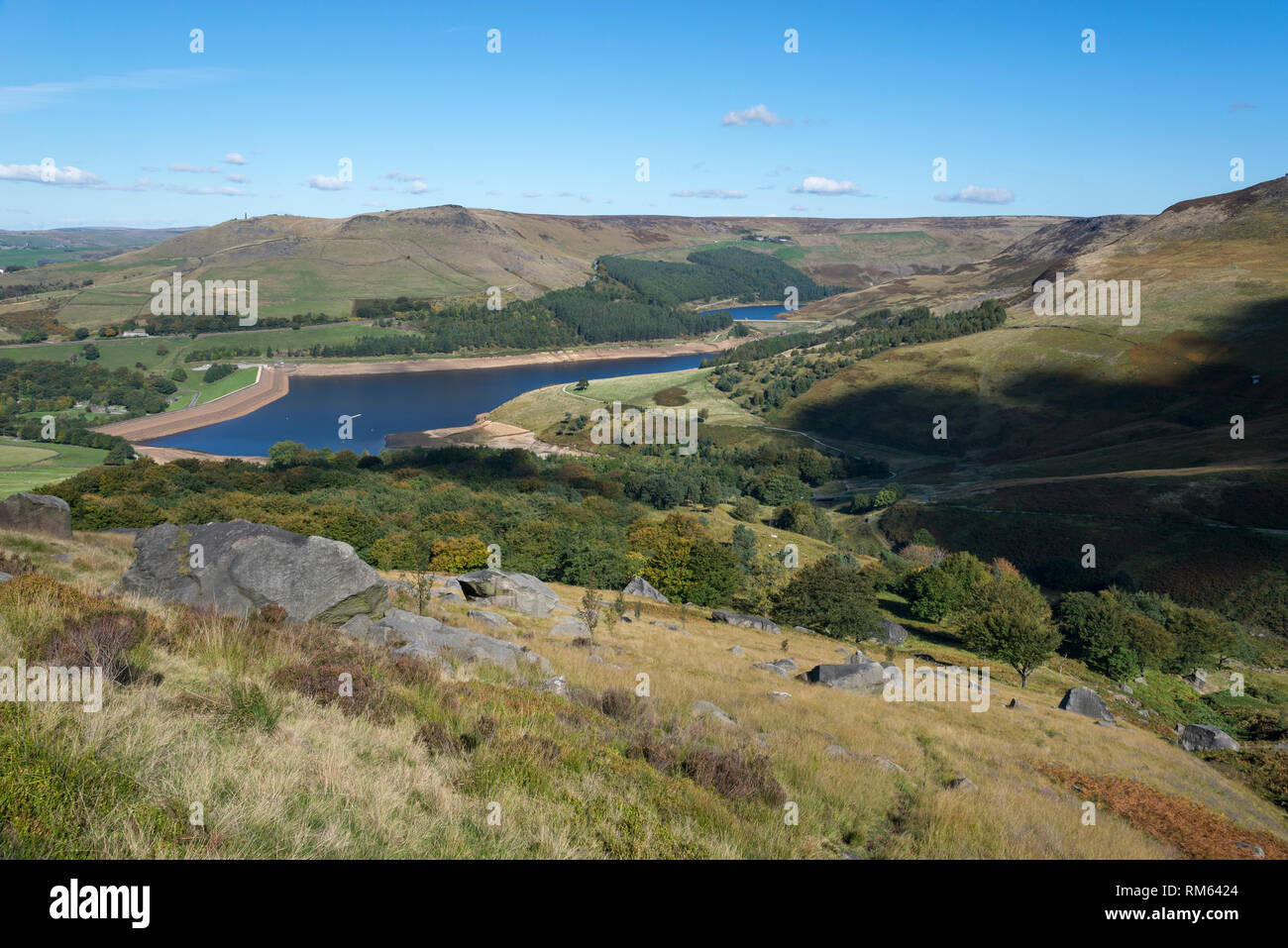 September in the hills around Dove Stone reservoir, Greenfield, Greater Manchester, England. Stock Photo