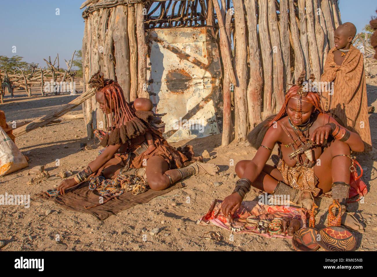 Himba village, Kaokoveld, Namibia, Africa - Stock Image