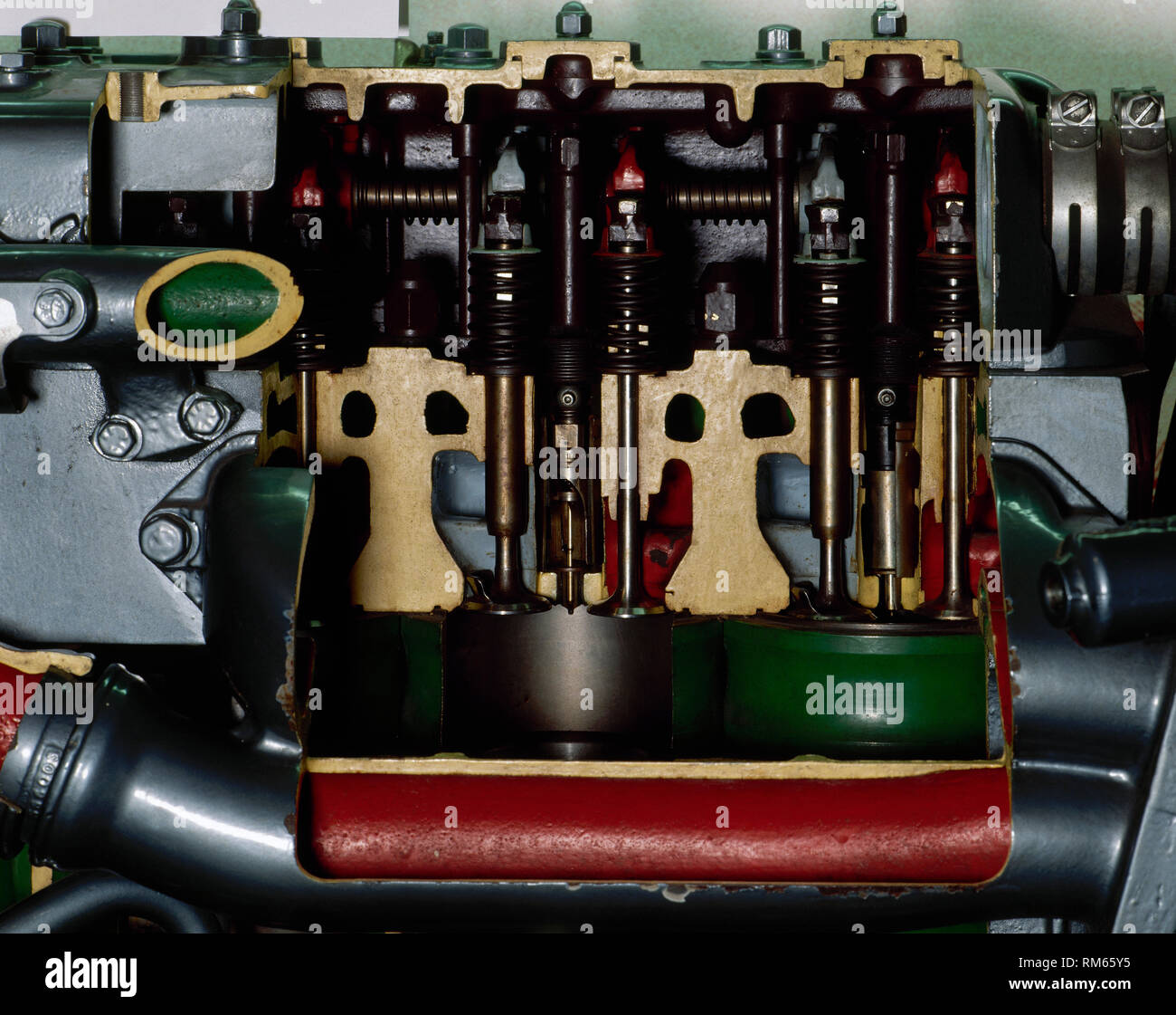 "Diesel engine by the Spanish manufacturer ""Pegaso"", belonging to a railbus. During the decade of 1960 they were introduced in Spain with the purpose of improve the regional services of Renfe. Detail of the pistons. Madrid Railway Museum, Spain. Stock Photo"