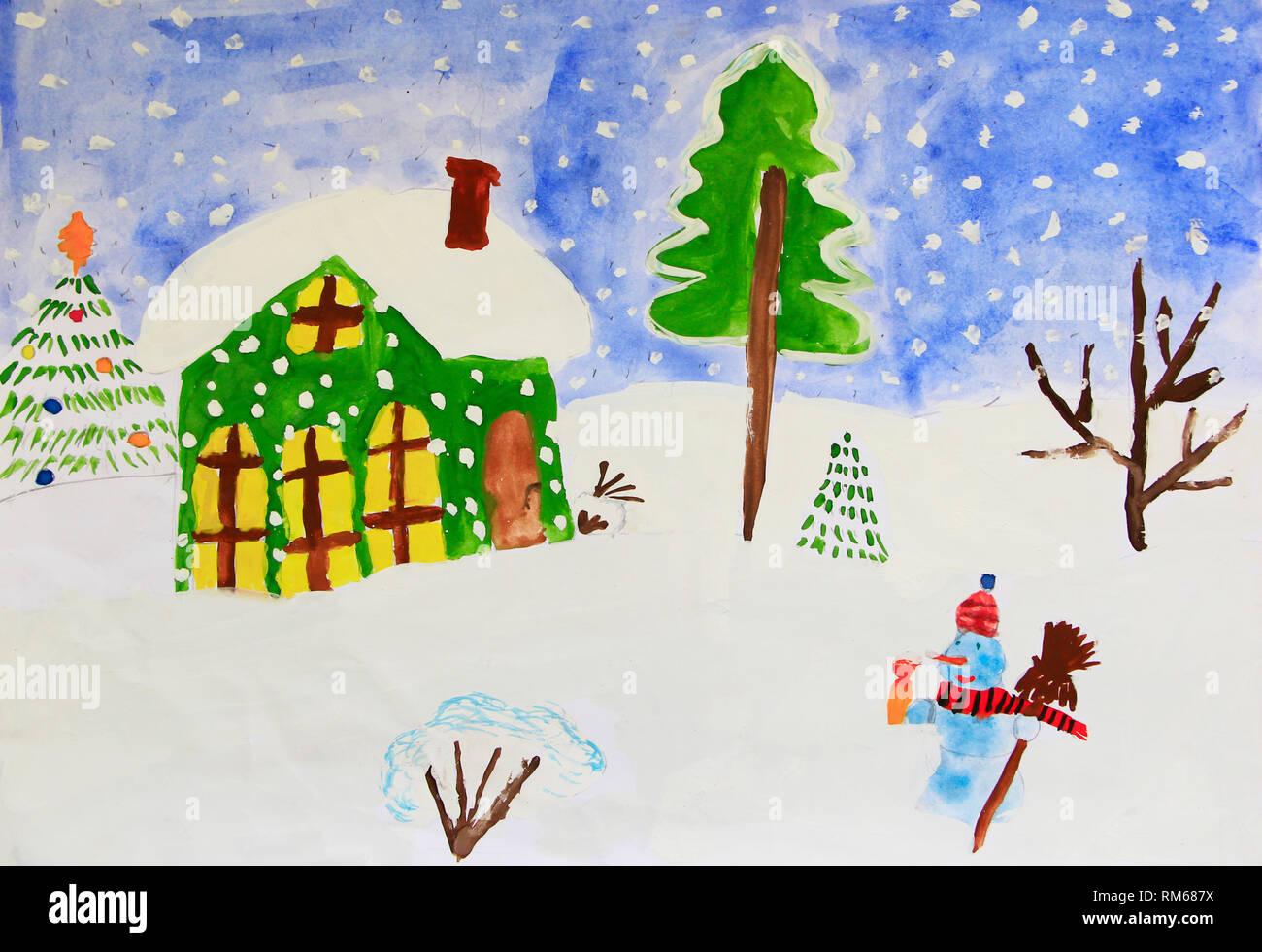 Christmas House Drawing.Christmas Childish Drawing Of Fabulous Snowman And House