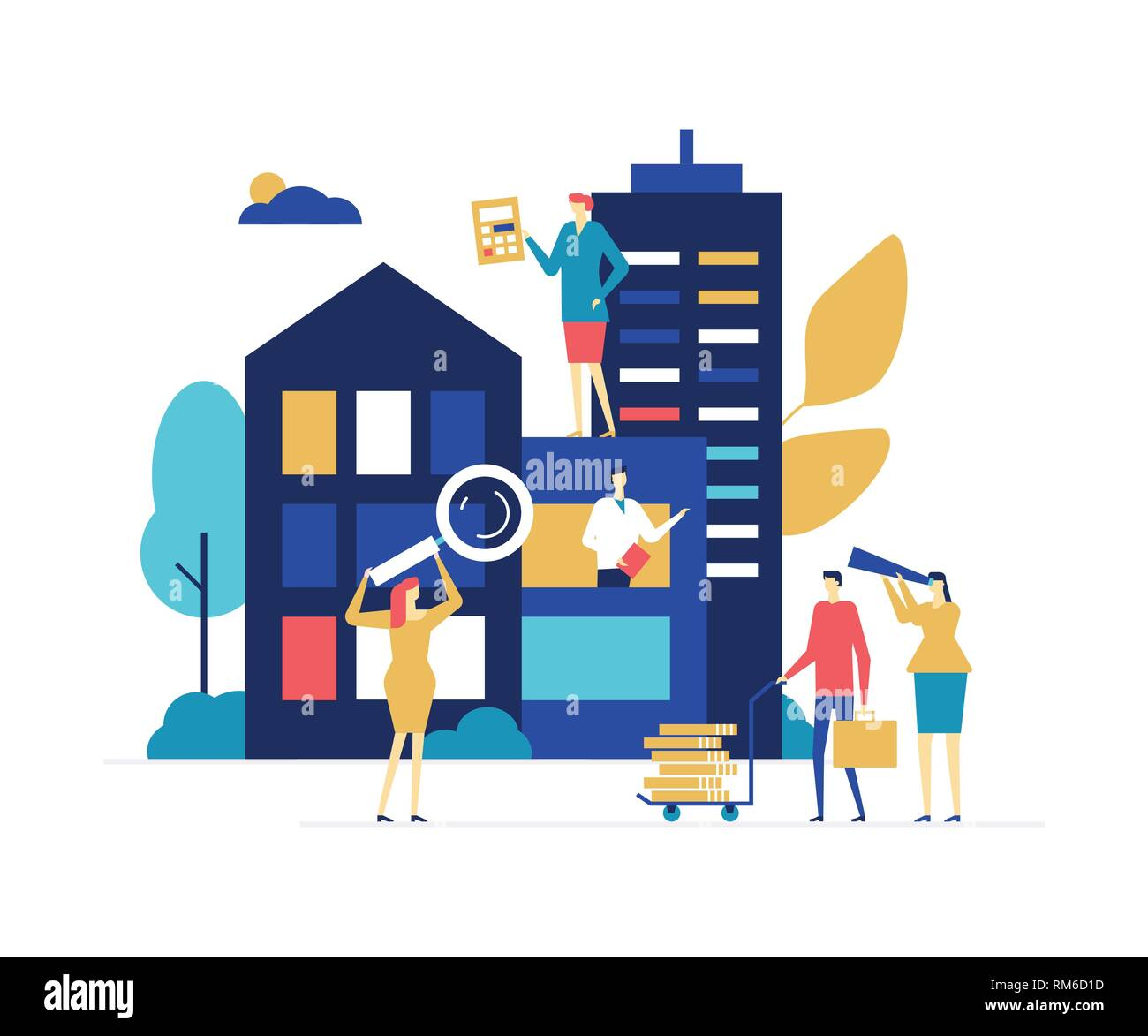 House for sale - colorful flat design style illustration - Stock Vector