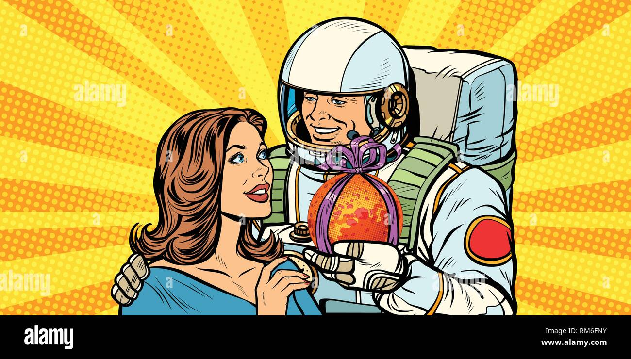 Couple in love. Astronaut gives a woman Mars - Stock Vector