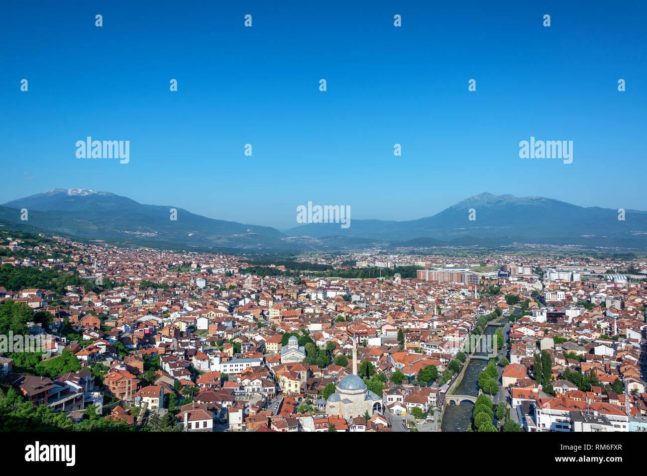 Beautiful cityscape view of Prizren, Kosovo with the Albanian Alps rising  in the background -