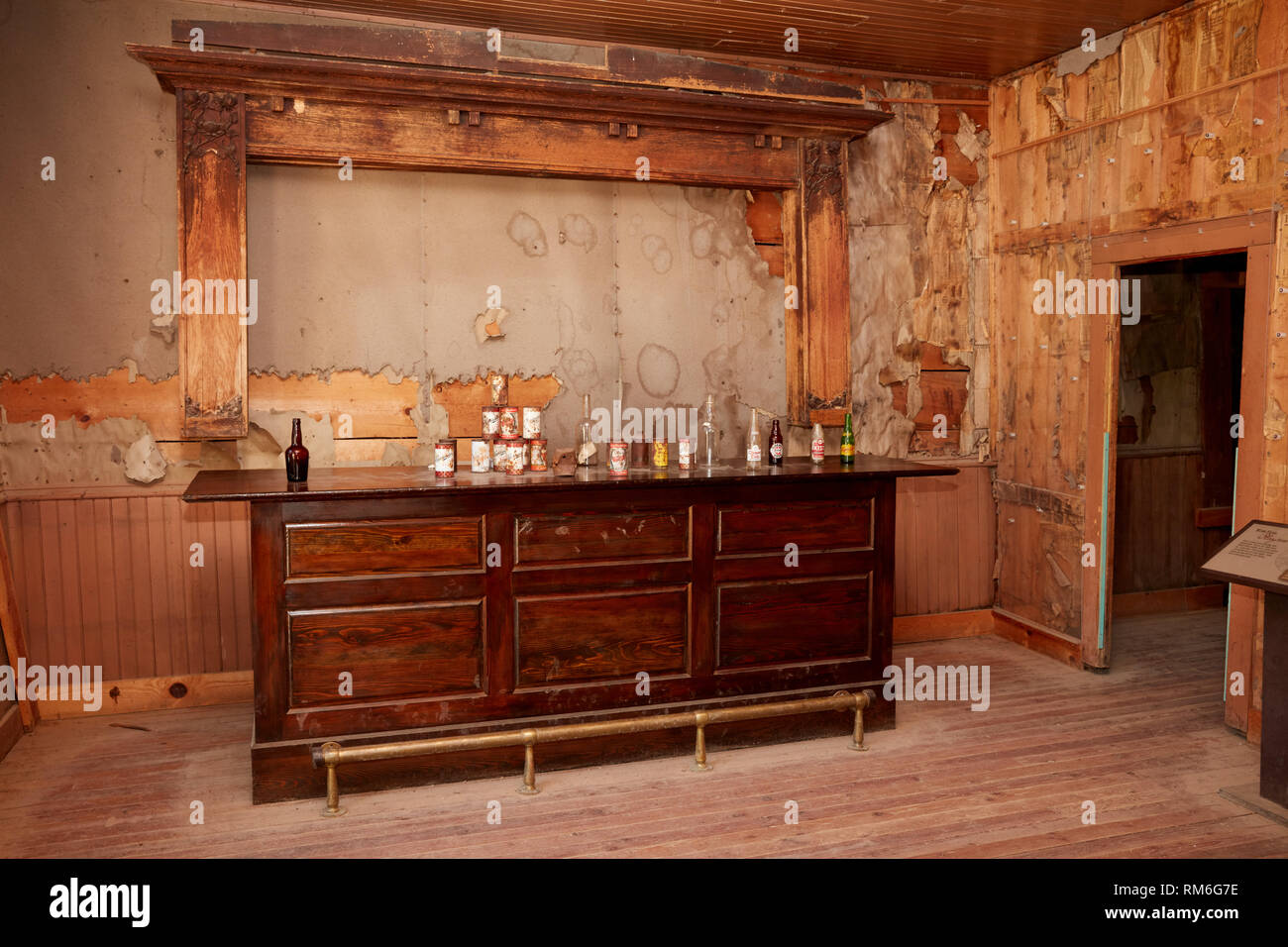 The bar at kelley's saloon in the ghost town of Garnet, Montana - Stock Image