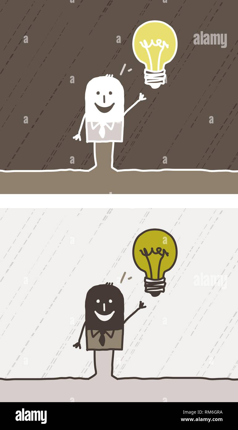colored cartoon - vector hand drawn characters - man with light bulb - Stock Vector