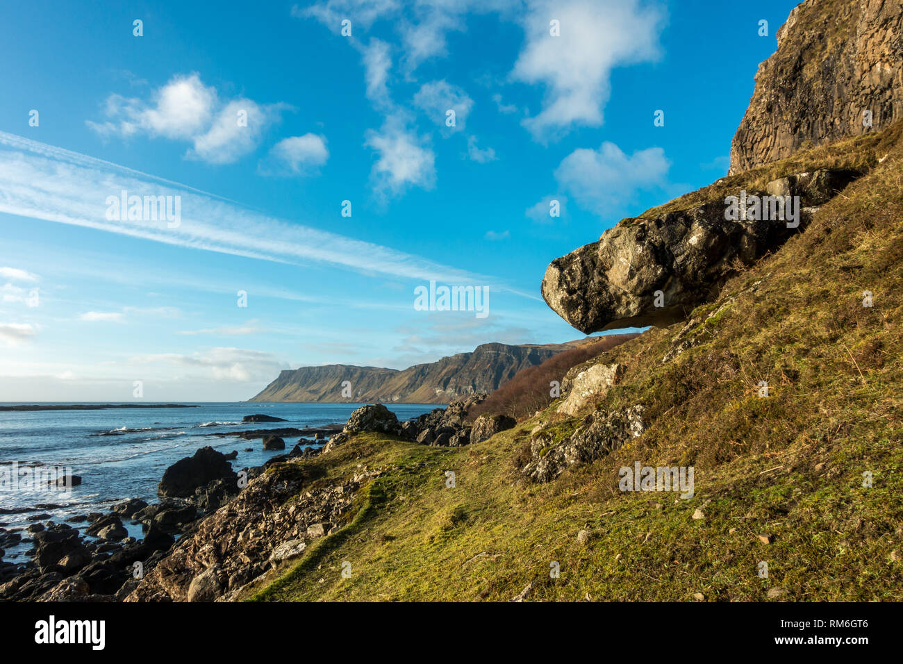 Stunning landscape view of the Carsaig cliffs on the Isle of Mull on a beautiful winter's day, Scotland - panoramic Stock Photo
