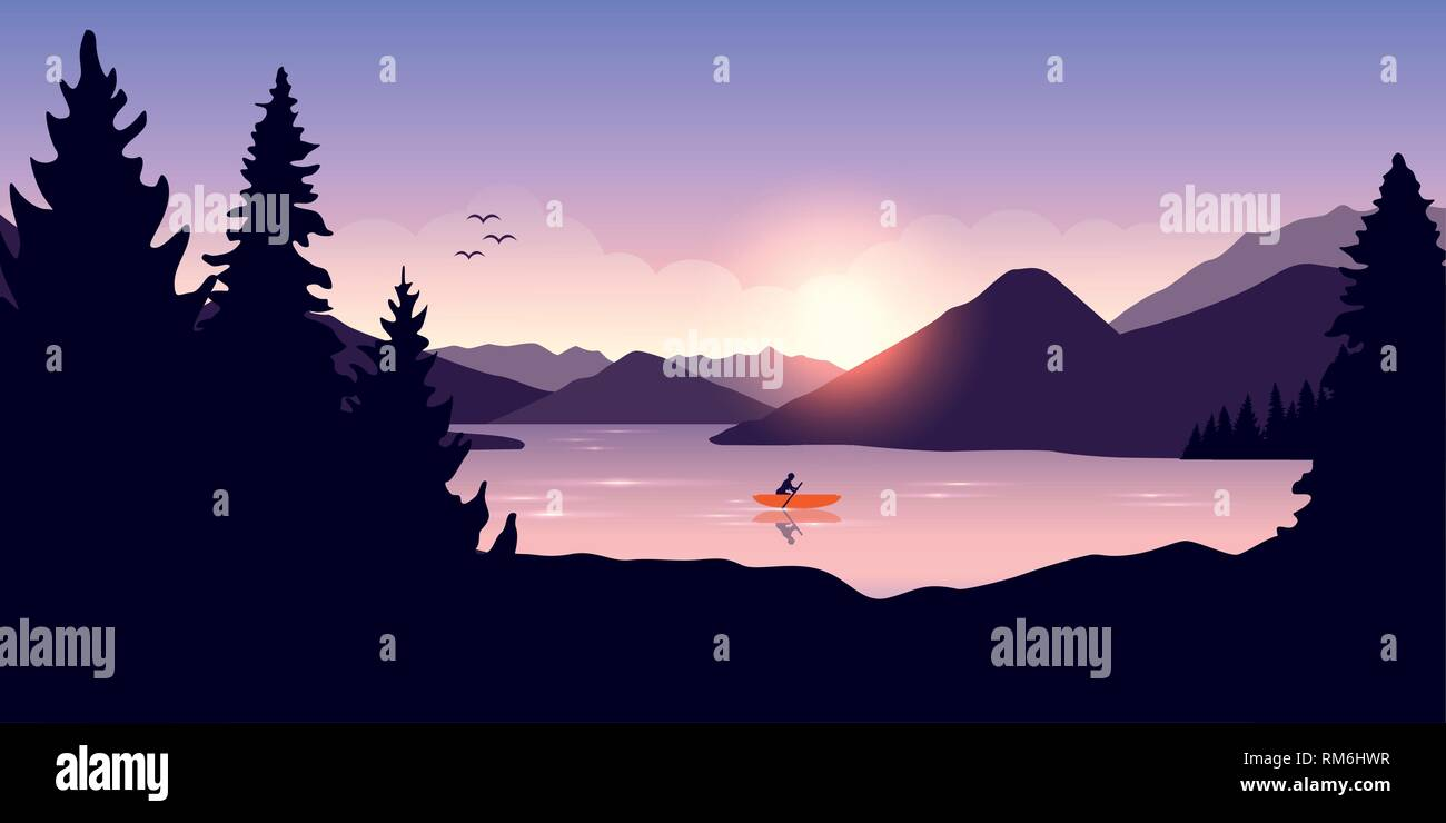 lonely canoeing adventure with orange boat at sunrise on the lake vector illustration EPS10 - Stock Vector