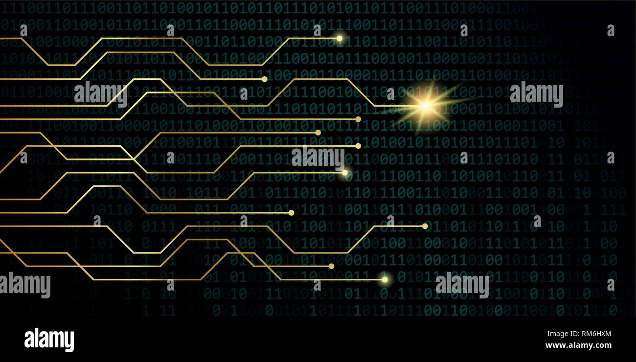 golden digital network power with binary code background vector illustration EPS10 - Stock Image