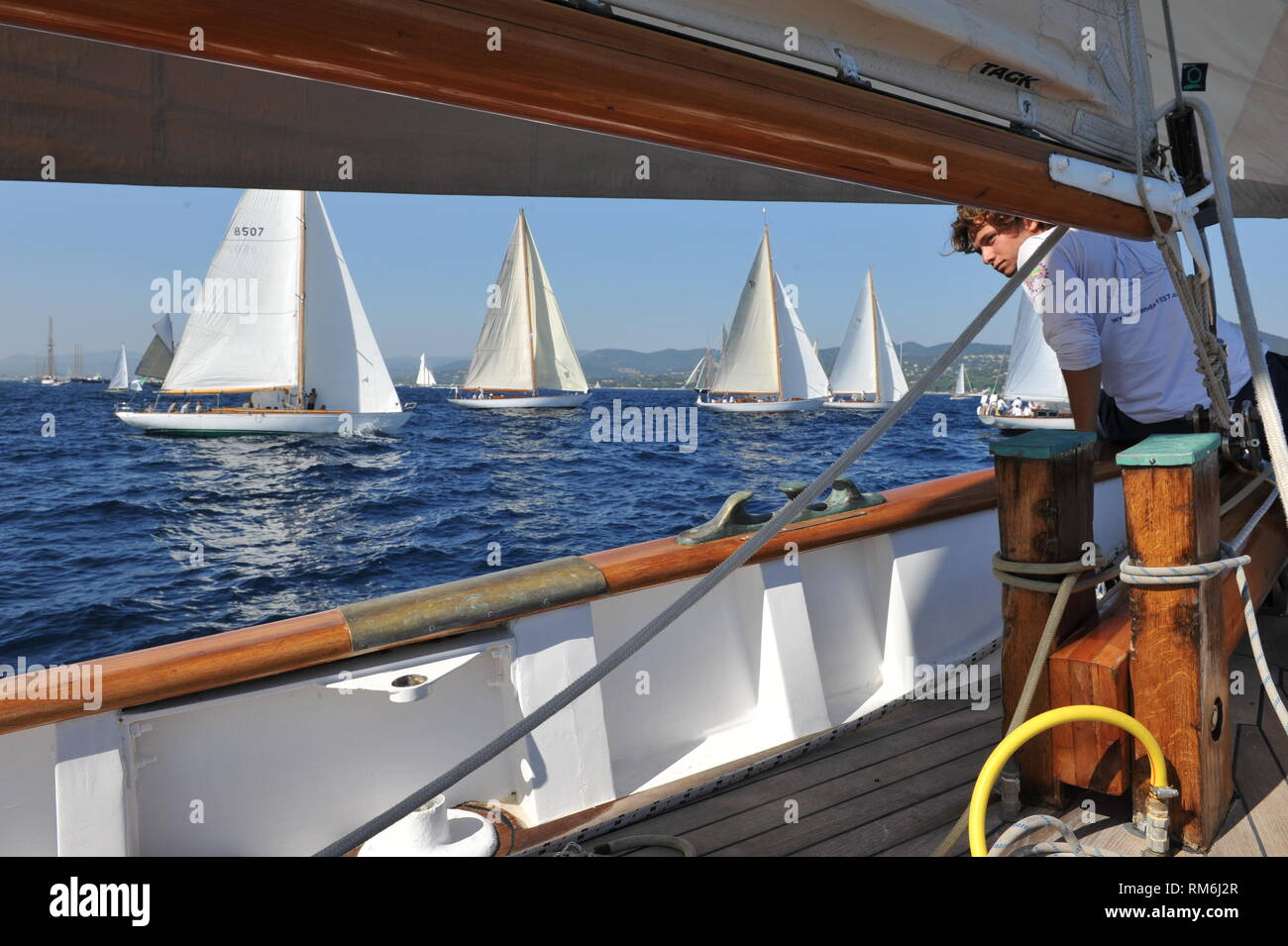 An exciting start to the race from on board classic schooner Orianda Stock Photo