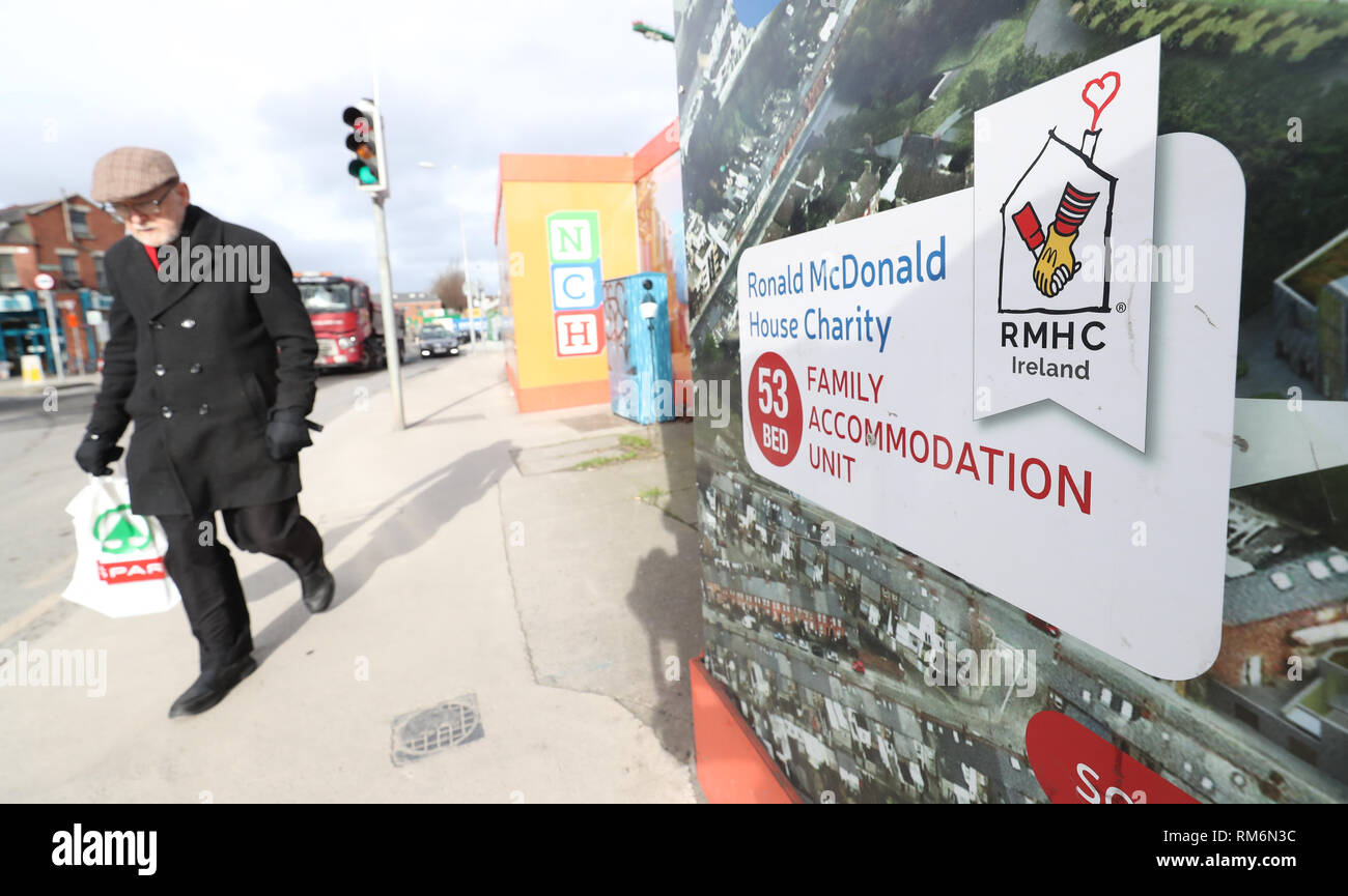 A sign for the Ronald McDonald House Charity at the construction