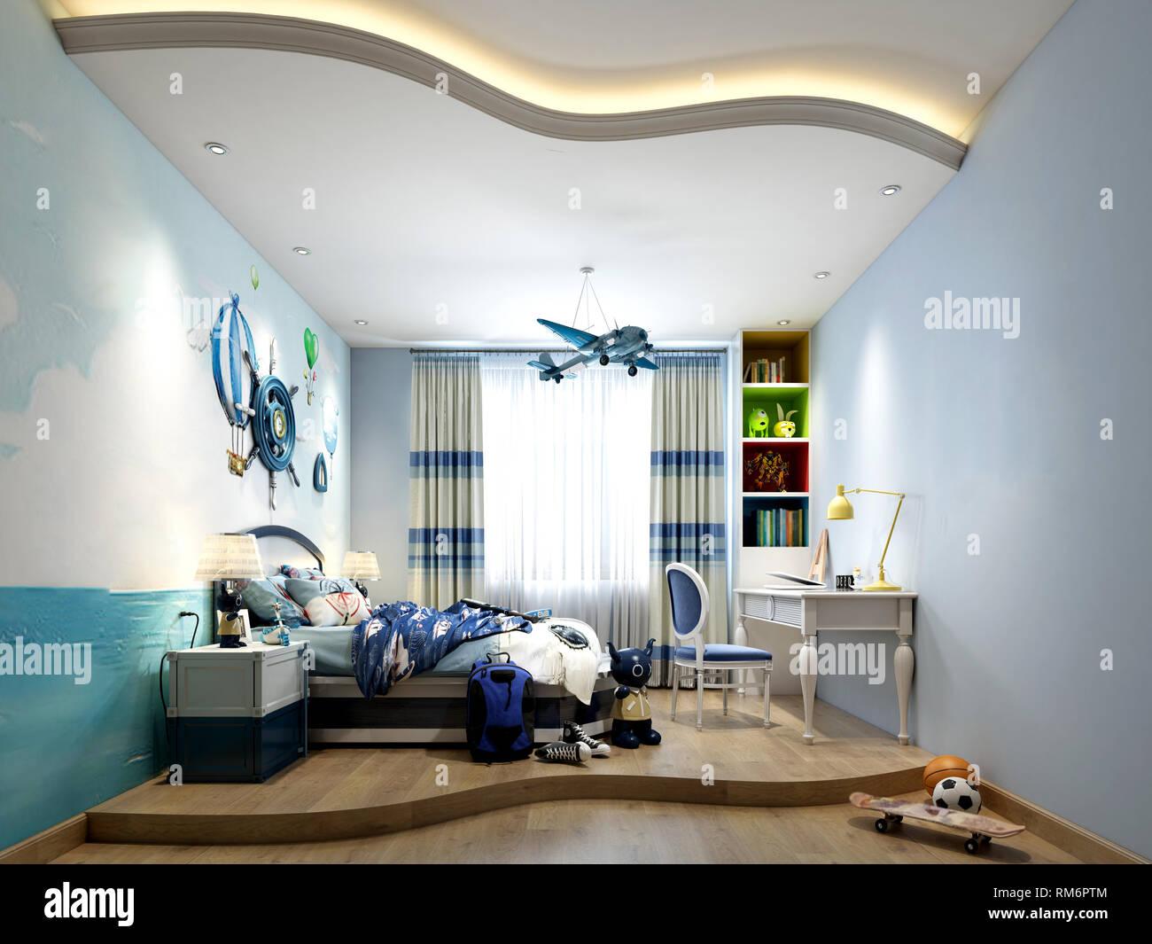 3d render home interior bedroom Stock Photo