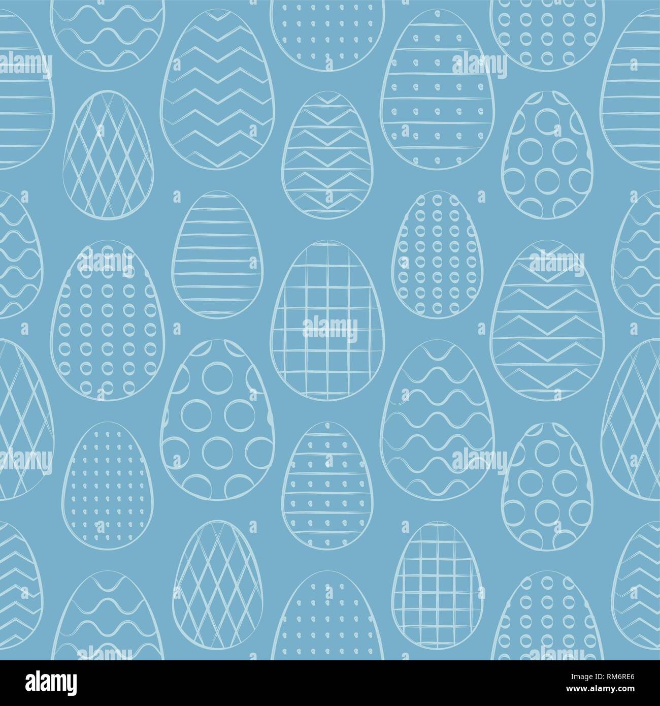 Easter seamless pattern. Minimal hand drawn design. Vector Illustration. - Stock Image