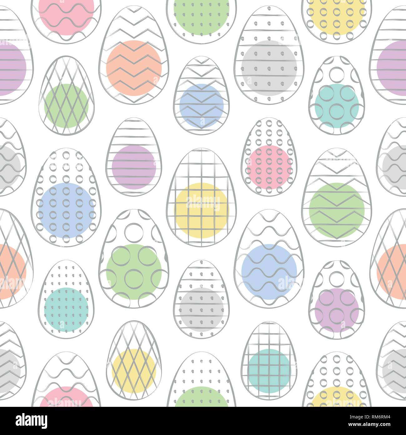 Easter seamless pattern. Minimal hand drawn pattern. Colorful Easter eggs. Vector Illustration. - Stock Image