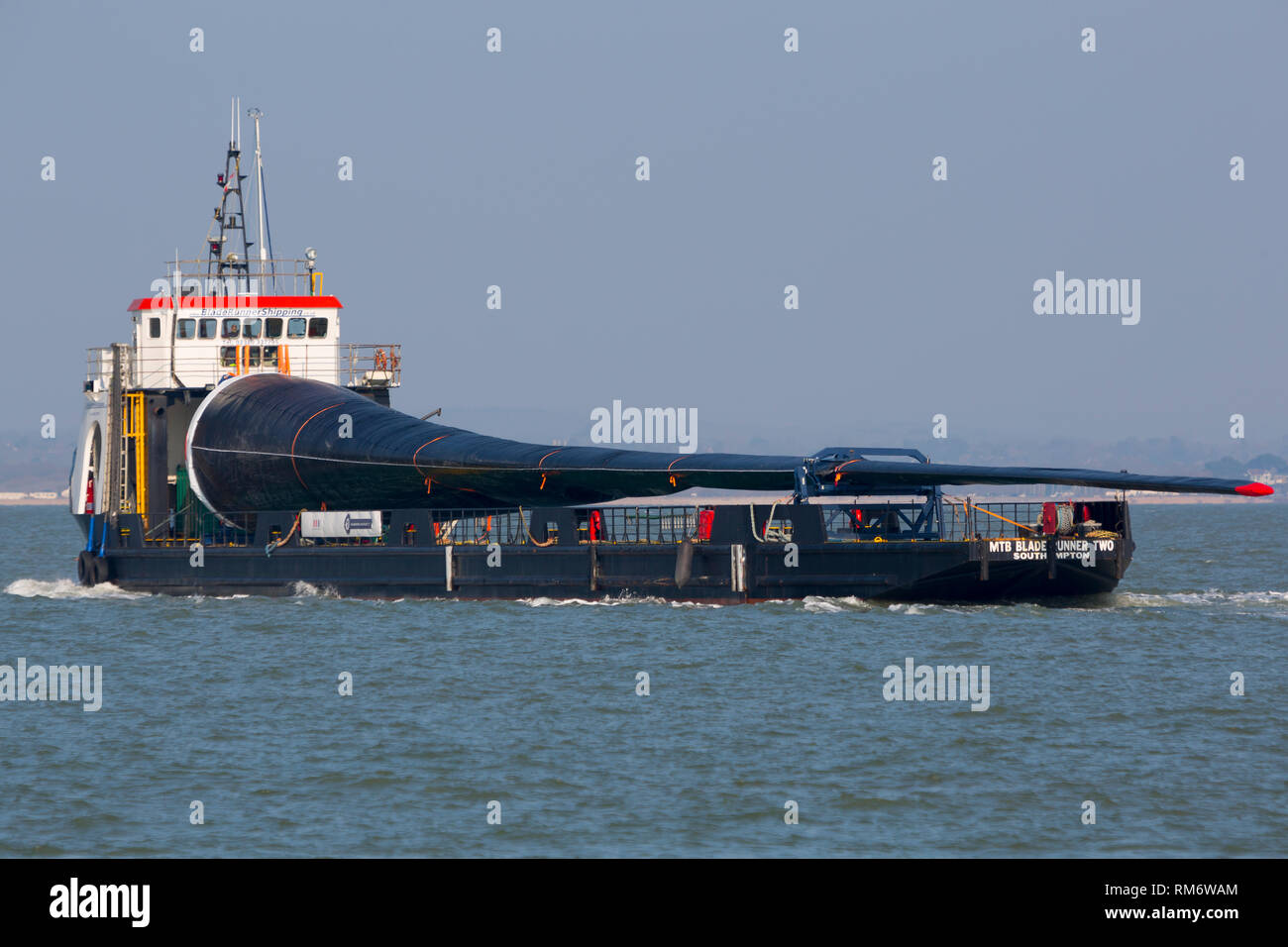 Wind turbine blade, ship, Blade Runner, crossing, The Solent, Cowes, Isle of Wight, England, UK, - Stock Image