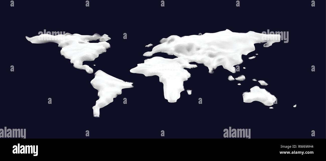 3d Snow world map. Cosmetic foam or cream or slime in the shape of a world map. Vector illustration on dark blue background - Stock Vector