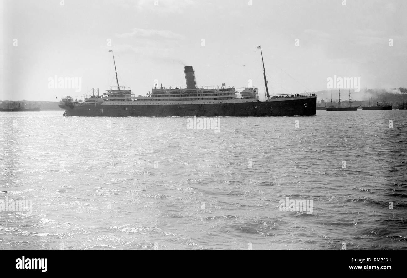 The SS megantic ocean liner built by harland and wolff in Belfast and operated by the white star line - Stock Image
