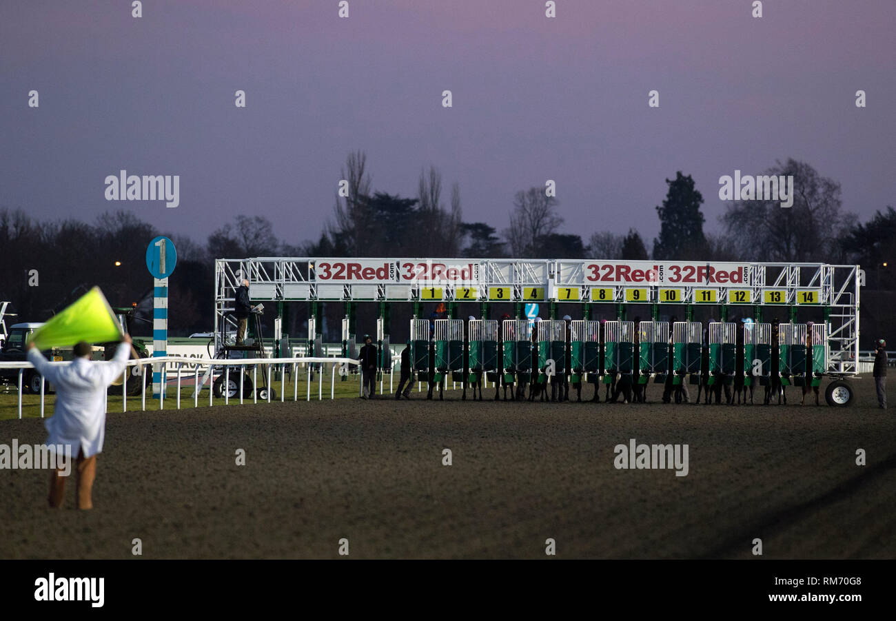 Horses at the start of the Racing TV Apprentice handicap
