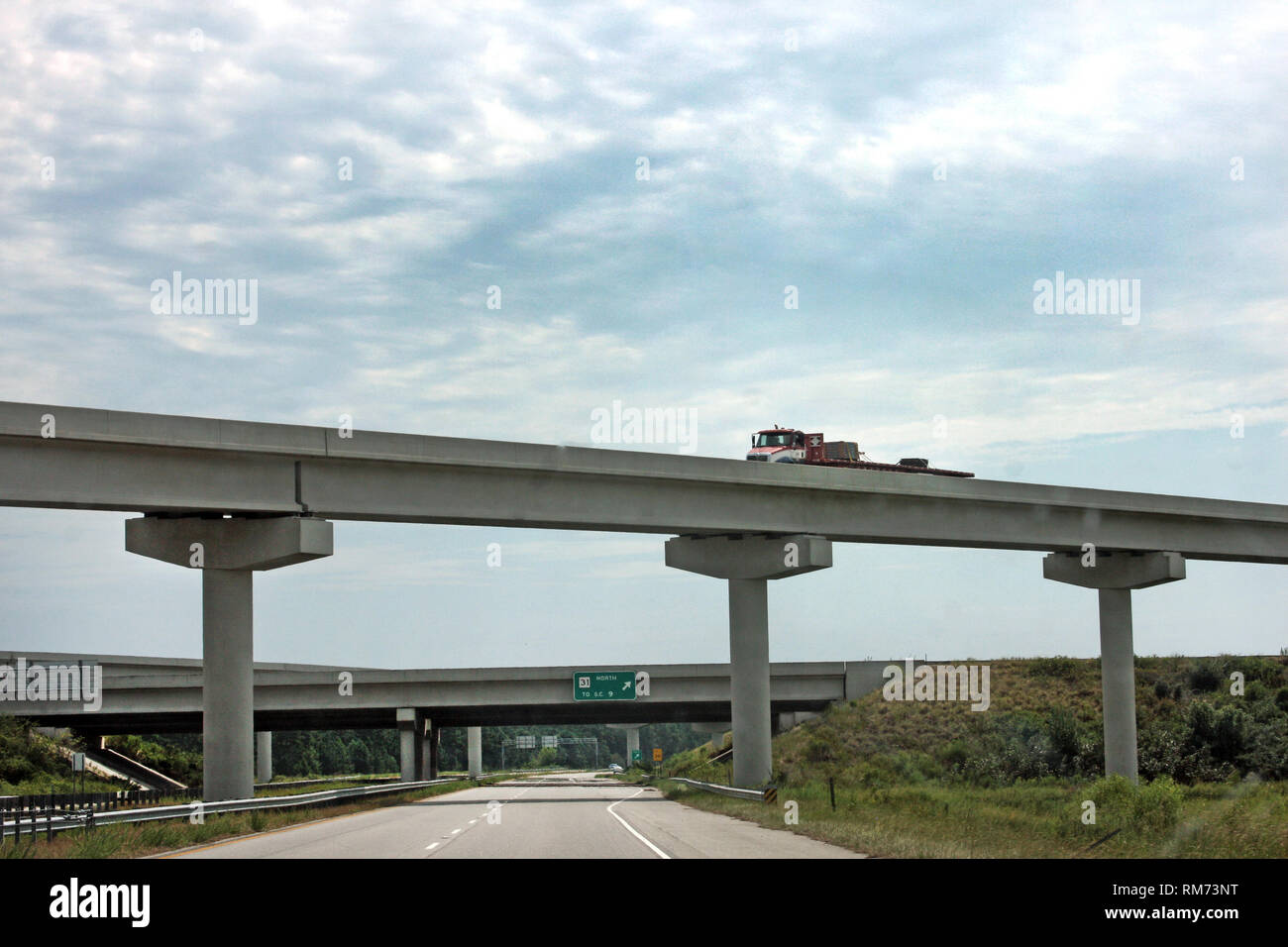 Overpasses over highway in South Carolina - Stock Image