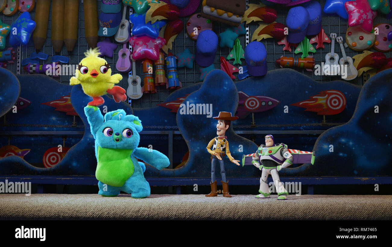 Toy Story 4 is an upcoming American 3D computer-animated comedy film produced by Pixar Animation Studios for Walt Disney Pictures.    This photograph is supplied for editorial use only and is the copyright of the film company and/or the designated photographer assigned by the film or production company. - Stock Image