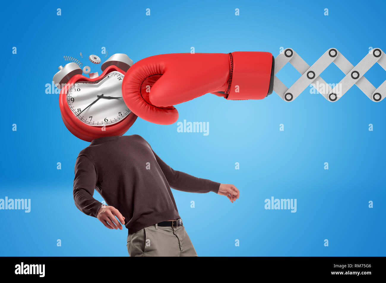 Huge red boxing glove punching man with an alarm clock instead of his face on blue background. - Stock Image