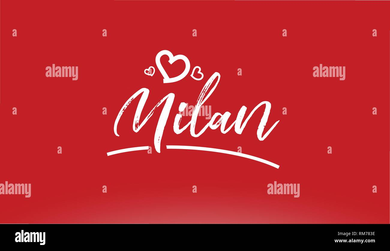 milan white city hand written text with heart on red background for logo or typography design - Stock Vector