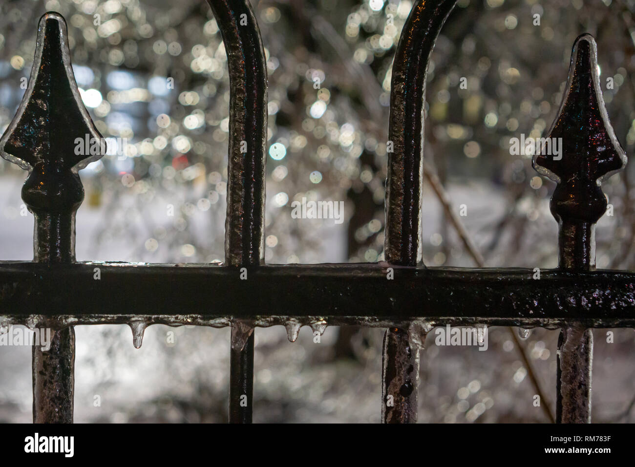 Even though the Toronto ice storm always causes a lot of real damage in the city there is undeniable beauty it brings with its literal 'silver lining' - Stock Image