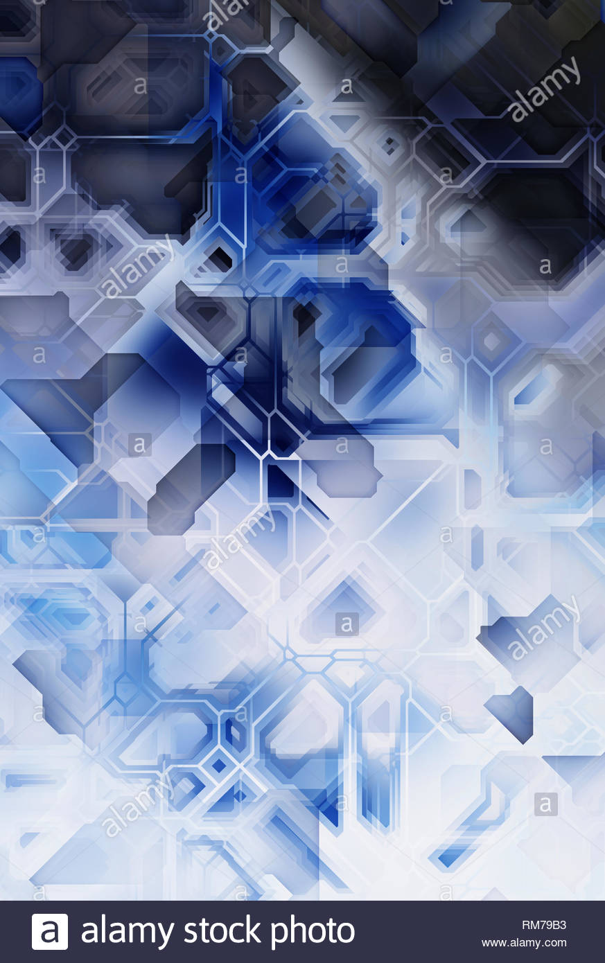blue, black and white abstract futuristic background - Stock Image