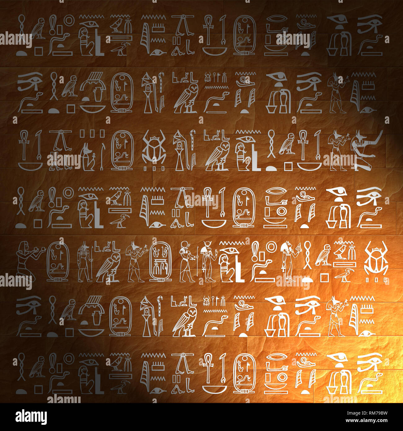 wall with ancient Egypt hieroglyphs - Stock Image